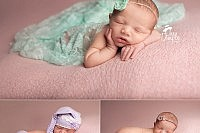 Sweet newborn in pink and teal