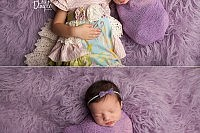 older sibling with newborn sibling on purple rug
