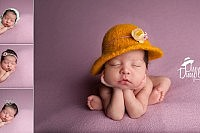 Newborn baby with yellow felted hat