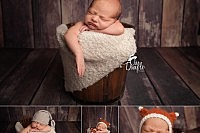 Newborn in fox outfit one wood floors