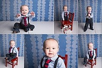 little boy in a tie and suspenders