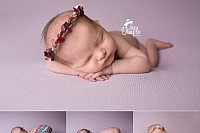 Newborn baby girl with multi color romper