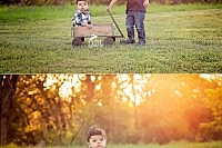 brother pulling little brother in wagon