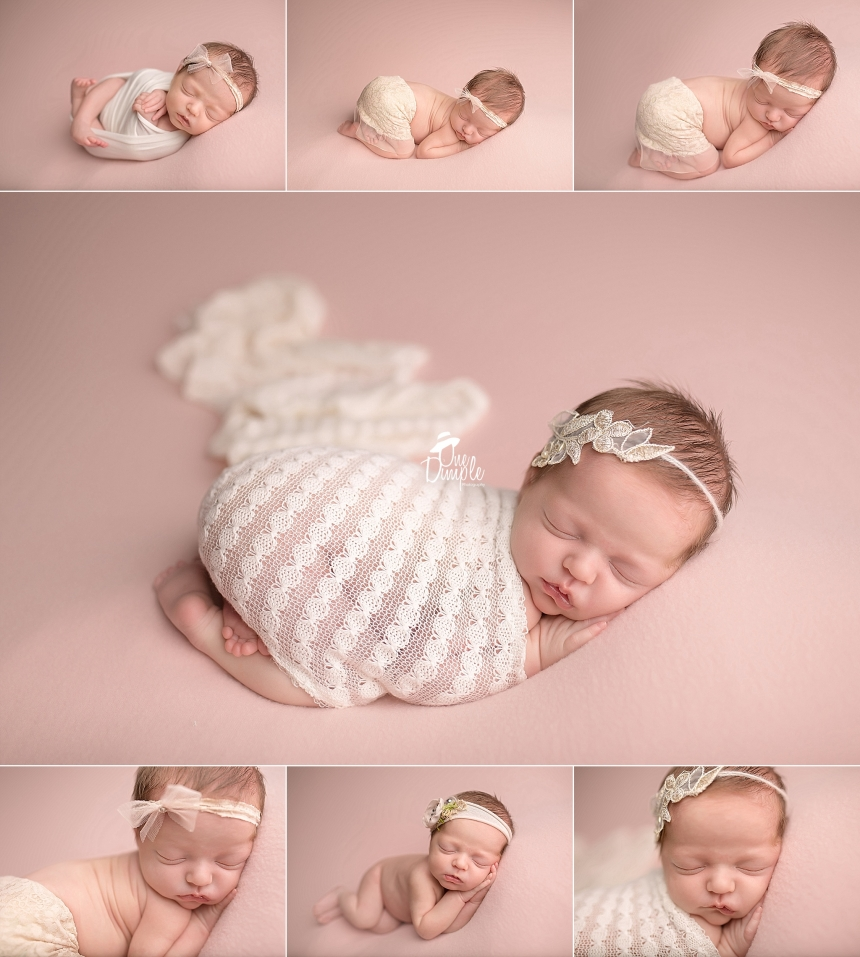 Pink and Cream Posed Newborn Session