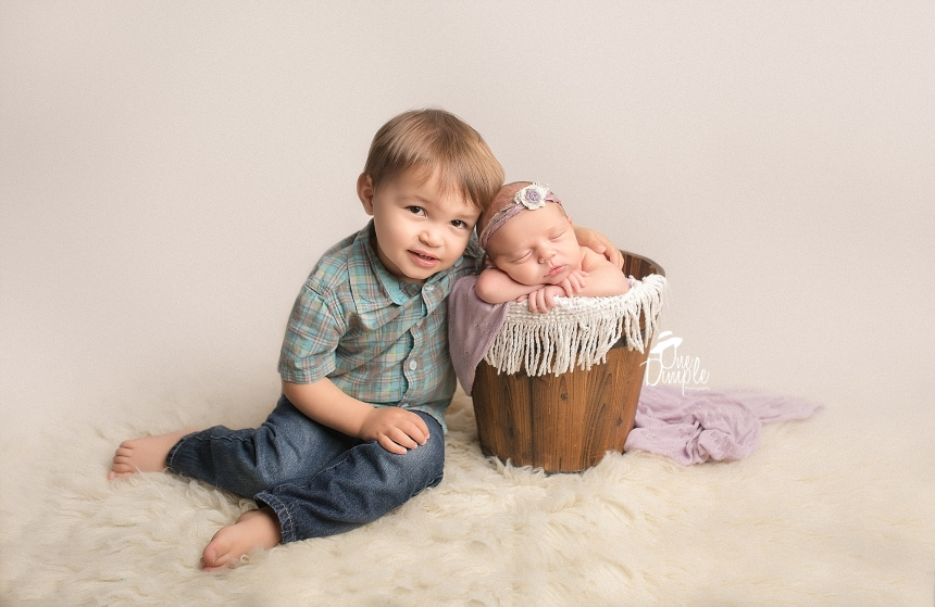 Posed Newborn and Big Brother Portrait