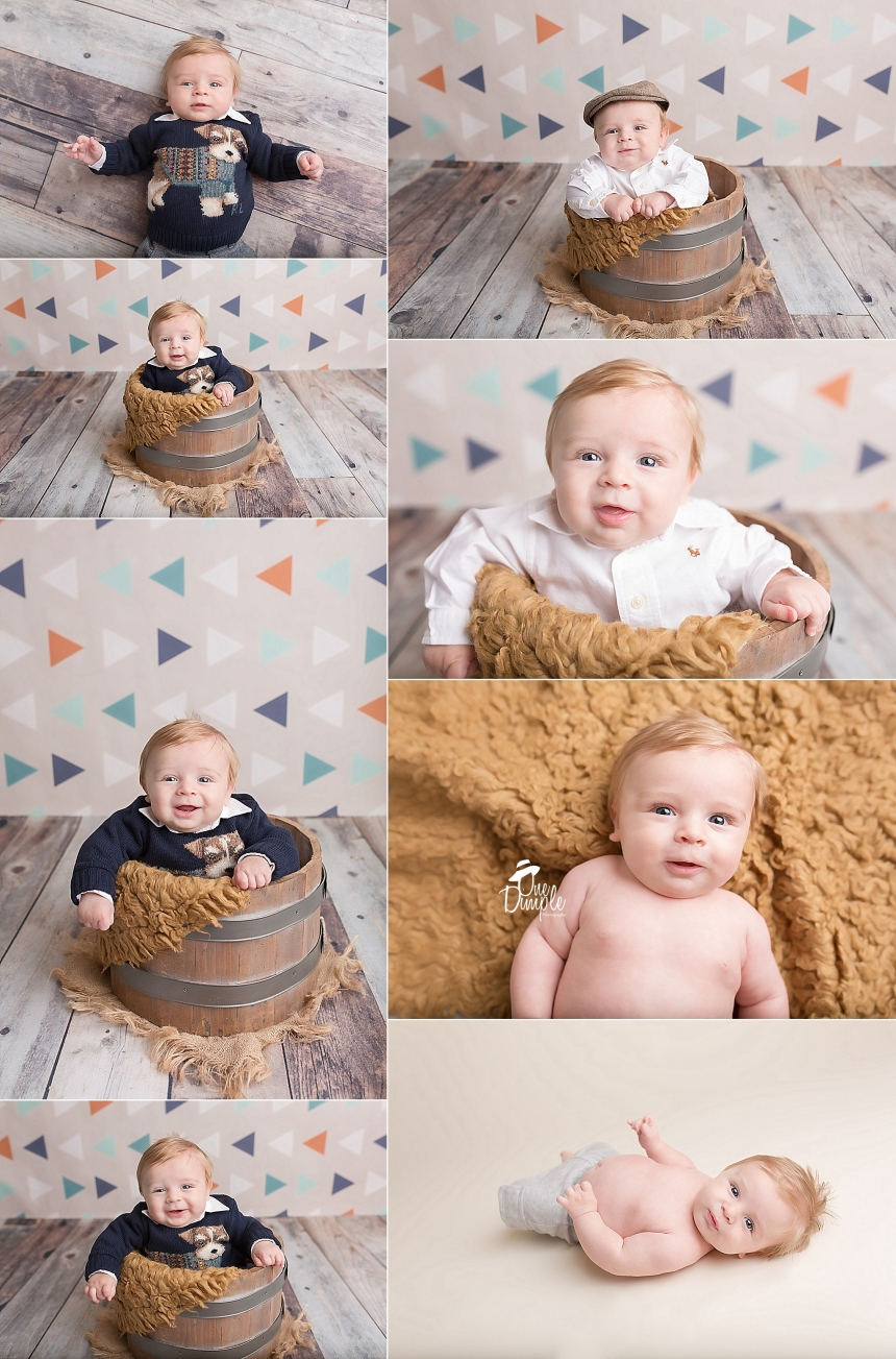 DFW 3 month studio session with smiling 3 month old