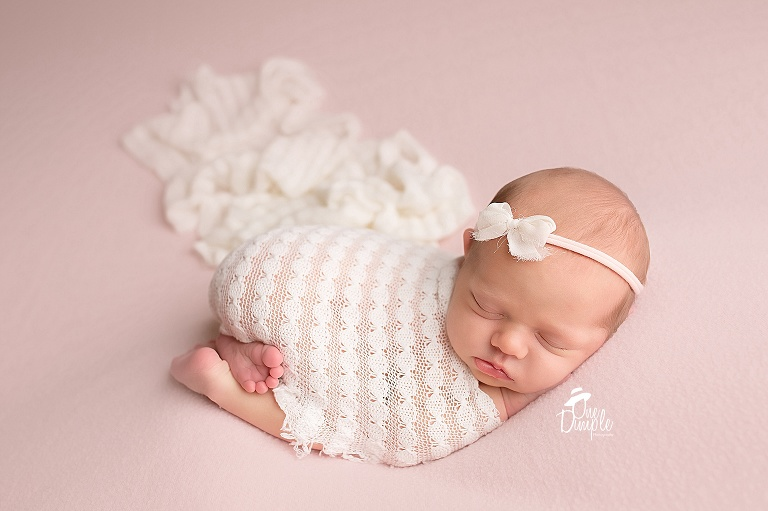 Tushie up posed newborn on pink and cream